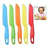 iwobi 5 pezzi Coltello da Frutta in Plastica,Set di Coltelli da Cucina per Bambini Coltelli di Sicurezza,Colorati