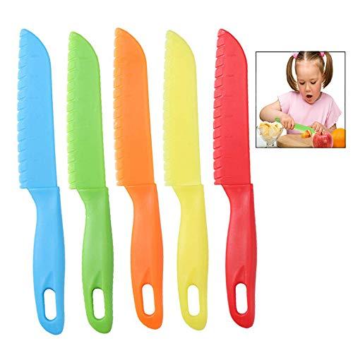 iwobi Cuchillos de Cocina para niños, Cuchillo de plástico para niños, 5 pcs Cuchillo de Seguridad para niños, Cuchillo para Lechugas, Uso Seguro para niños