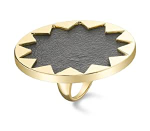 House Of Harlow 14ct Gold Plated Sunburst Cocktail Ring with Black Leather - Size L 1/2