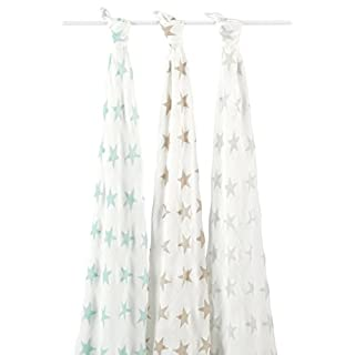aden + anais silky soft swaddle, 100% viscose made from bamboo, 120cm X 120cm, 3 pack, milky way