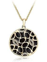 J&F - Collier avec pendentif rond laqué noir et cristaux Swarovski Crystal, plaqué or