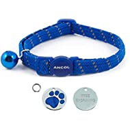 ANCOL Cat Blue Reflective Elasticated Softweave  Collar With Engraved Paw Print Glitter Cat ID Tag