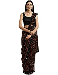 Womanista georgette with blouse piece Saree (TKIM811_ Black_ Free Size)