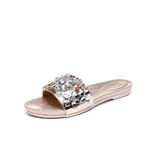Pantofole e sandali piatti/ moda infradito/Cucitura strass tacco piatto trapano antiscivolo scarpe morbide B