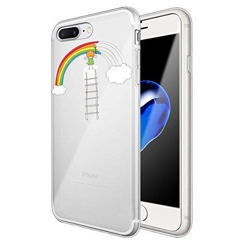 iPhone 7 Plus Hülle, Qissy®Cute panda series Transparent Weiche Silikon Schutzhülle mit Niedlich Muster für Apple iPhone 7 plus 5