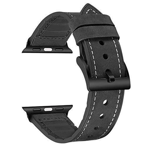 Yallylunn TPU + Lederband Schwarz Schnalle Atmungsaktiv Mode Einkaufsmonat See Unisex FüR Apple Watch Serie 44Mm
