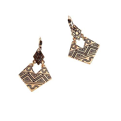 generic-ethnique-boucle-doreille-goutte-dor-antique-motif-pyramide-pendante-geometrique-bijoux-fanta