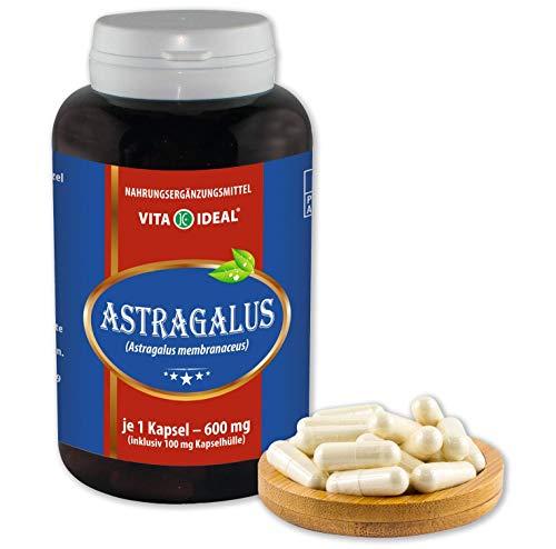 VITA IDEAL ® Astragalus-Wurzel (Astragalus membranaceus, Tragant-Wurzel) 180 Kapseln je 600mg, aus rein natürlichen Kräutern, ohne Zusatzstoffe
