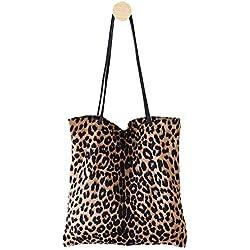 Bolso de Mujer con Estampado de Leopardo, Bolso de Hombro, Bolso de Mano para Mujer, Bolsa de la Compra, Bolsa de la Compra para Mujer Beige (Albaricoque)