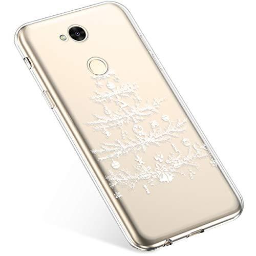 Kompatibel mit Handyhülle Sony Xperia XA2 Ultra Schutzhülle Silikon Transpatente Hülle mit Weihnachten Muster Durchsichtige Handytasche Ultra Dünn Weich TPU Bumper Case Backcover,Weiß Baum