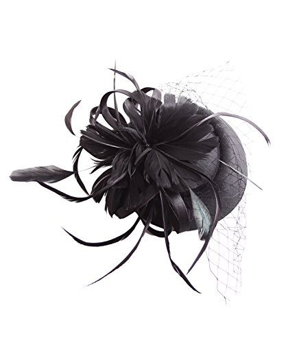 SugarShock Headpiece Fascinator Damen Pillbox Hut, Farbe:Schwarz, Größe:OneSize