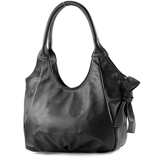 modamoda de �?borsa in pelle da donna borsa a mano borsa a tracolla borsa donna pelle nappa IT28 Nero