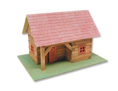 Preisvergleich Produktbild matches21 Blockhaus mit Vordach Holz Bausatz f. Kinder Werkset Bastelset ab 11 Jahren