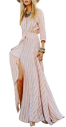 KE1AIP Womens Boho V-Ausschnitt Blumen 3/4 Ärmel Seitenrutsch Krawatte-Taille Langarm Blumen Maxi Langes Kleid (XL, Pink stripes) (Kleid Casual Stripe)