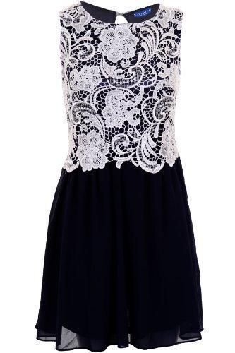 Sapphire Damen Chiffon Pleated Spitze hinten offen Kontrast Party Kleid Women's Marineblau / Elfenbein