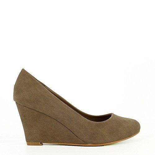Ideal Shoes–Escarpins compensati in similpelle Soria Grigio