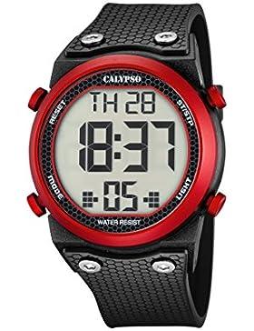 Calypso Unisex Armbanduhr Digitaluhr mit LCD Zifferblatt Digital Display und schwarz Kunststoff Gurt k5705/2