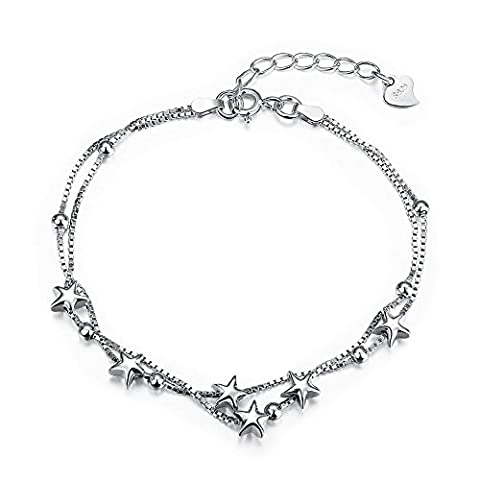 Sterling Silver Charm Bracelet Adjustable BFF Jewellery Gift for Women Beads and Stars Double Layered Box Chain 8