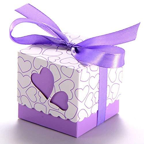 50pcs Herz-Hochzeits-Bevorzugungs-Kasten, TheBigThumb süße Süßigkeit-Geschenk-Kasten für Hochzeits-Geburtstags-lila Bevorzugungs-Kasten mit Band für Babyparty-Taufe-Abschluss-Weihnachtsfest