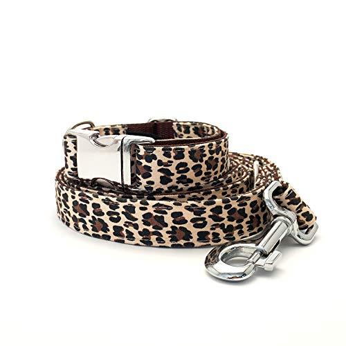 Dog'C - Elegante Hundeleine (2m) + Hundehalsband im Set (2-teilig) - 3-Fach Größenverstellbar - Leo-Muster - Handgefertigt in Deutschland - für alle Hunde geeignet (M) (Hundehalsband Leopard)
