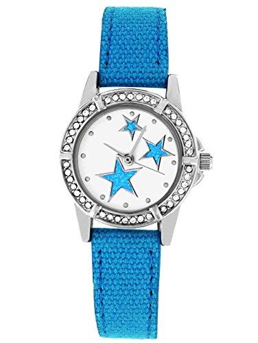 Crystal Blue Reloj de pulsera para niños o juvenil Reloj de pulsera funkelnder brillantes estrellas tela banda analógico de cuarzo turquesa 20014
