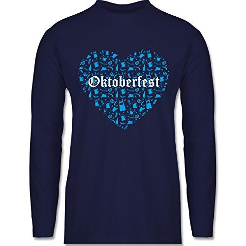 Shirtracer Oktoberfest Herren - Oktoberfest Herz - Herren Langarmshirt Navy Blau
