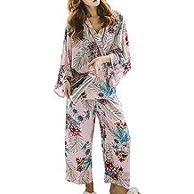 QINJLI Pijamas de Las señoras de Kimono japonés otoño Comodidad Suave algodón Seda Que Fundación Deja
