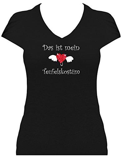 Elegantes Damen Shirt Glitzeraufdruck Spruch Das ist Mein Teufelskostüm T-Shirt Karneval Fasching Teufel mit Evil Heart, T-Shirt, Grösse S, schwarz