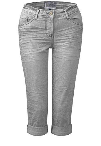 CECIL Damen Graue 3/4-Denim Scarlett light grey used wash (grau)