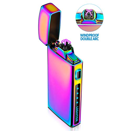 Feuerzeug, Lichtbogen Feuerzeug Elektro Feuerzeug Elektronisches Feuerzeug USB Aufladbar Windfest Plasma Feuerzeug Mit Batterieanzeige S2000 Multichrome