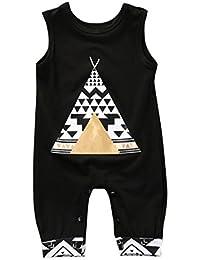 1pc Grenouillère sans manches pour garçon 9-24 mois, Transer Bébé garçons mignon coton salopette Combi-pantalon imprimé