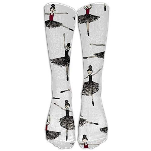 922b5ec30 Funny shirt Ballet Nylon High Compression Knee Socks Casual Volleyball Adults  Cartoon Knee Long Tube Crew Socks 19.6 in