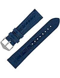Hirsch CROCOGRAIN Crocodile Embossed Leather Watch Strap with Buckle in Blue (12mm M, Silver Buckle)
