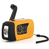 Radio 6 fonctions - Lampe Portable 4 en 1 - Multifonction - Haut Parleur - Rechargement par Dynamo - FM ou carte SD (MP3) - Chargeur Smartphone - Rechargement Solaire