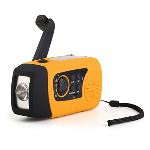Maexus Notfall-Radio, Dynamo Survival Solar Handkurbel, selbstbetrieben, AM/FM/NOAA Wetterradio mit LED-Taschenlampe, 1000 mAh Powerbank für iPhone/Android Smartphone, gelb