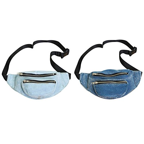 Everpert Denim Women Belt Waist Pack Chest Bag Casual Shoulder Messenger Fanny Purse