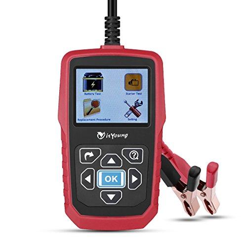 isYoung Testeur Analyseur de Toutes les Batteries 12V/24V Automobile Charge de Voirture avec Ecran Couleur 100-2000 CCA BCI CA etc