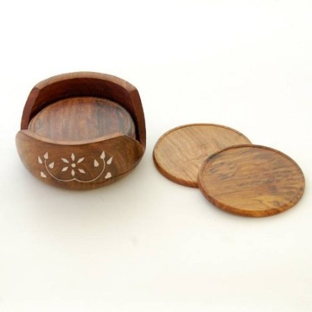 Onlineshoppee Wooden Carved Tea Coaster Set of 6 Plate with Stand dining table serving office