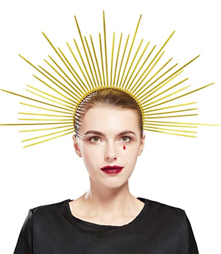 Fantherin Heiligenschein Haarreif Damen Mary Halo Krone DIY Kabelbinder Sonnengott Cosplay Halo Stirnband Karneval Kopfschmuck Damen Fasching Kostüm Accessoires (Gold)