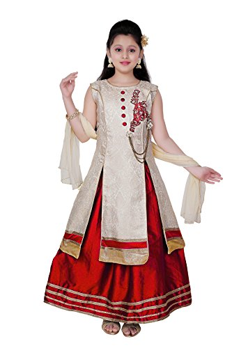 Saarah Girls Ethnic Wear Red And Gold Color Self Design Lehenga, Choli...