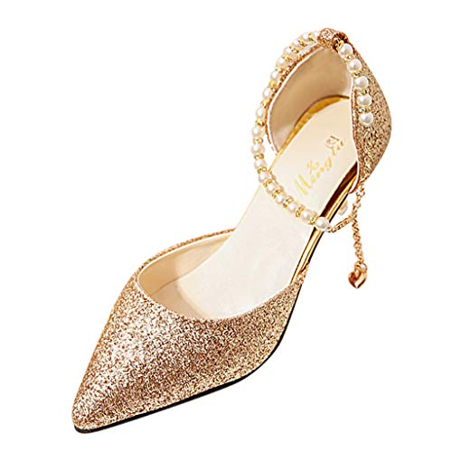 feiXIANG Sandali Estive Scarpe Donna Eleganti con Tacco Alto Moda High Heels Sexy Tacchi Alti a Punta Classico Shoes da Sposa Elegante Cinturino Caviglia Sandali Comfort