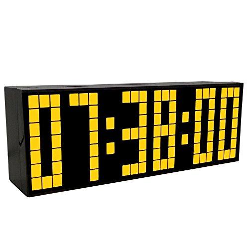 Lambtown orologio digitale moderno a led orologio a grande giornata con termometro data - giallo