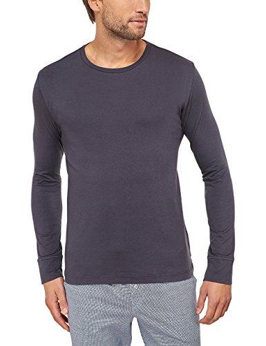 Schiesser Herren Schlafanzugoberteil Shirt Langarm Grau (anthrazit 203) X-Small (Herstellergröße: 046)