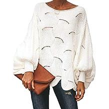 OUFour Otoño Invierno Mujeres Suelto Suéter Moda Cuello Redondo Murciélago  Mangas Jerséis Blusa Colores Lisos Sweater 0bfef90f3515