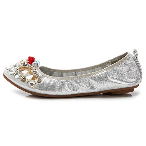 ... AalarDom Damen Ziehen Auf Spitz Zehe Ohne Absatz Rein Flache Schuhe  Silber-Paillette ...