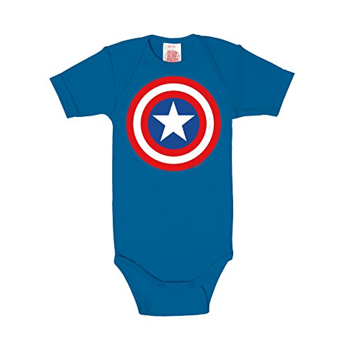 Captain America Baby Body Marvel Shield Logo für Superhelden Fans lizenziert Baumwolleolle blau - 62/68 (Baby Superhelden)