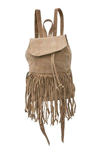 Echt-Wild-Leder Rucksack Franzen | CeCee Bags Damen-Handtasche | Ledertasche für Frauen | Hippie Leder-Rucksack für Uni, Schule und Freizeit (Gurt-reißverschluss-frauen-handtaschen)