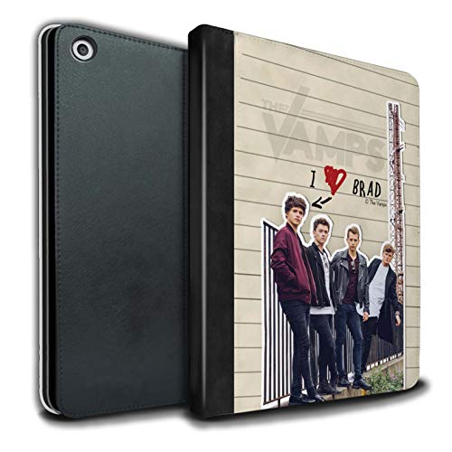 The Vamps PU Pelle Custodia/Cover/Caso Libro per Apple iPad 9.7 2018/6th Gen Tablet/Brad Diario Segreto Disegno