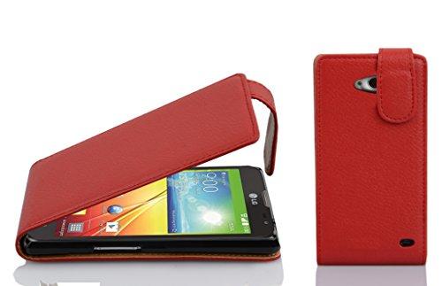 Cadorabo Hülle für LG L90 Hülle in Inferno Rot Handyhülle aus Strukturiertem Kunstleder im Flip Design Case Cover Schutzhülle Etui Tasche Inferno-Rot