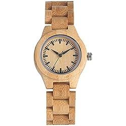 JLySHOP Reloj de Madera de bambú para Mujer, Hecho a Mano con Madera de bambú Natural y Cuarzo, Correa de bambú única, Reloj de Pulsera de Madera para Mujer